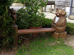 Gruffalo Bench (Glass Horse 2017) Tags: painted carved wood whitby crossbutts benchmonday bench character children'sbook fantasycreature creation juliadonaldson mouse gruffalo
