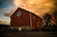 barn quilt (Jen MacNeill) Tags: weather lancaster county country rural pa pennsylvania countryside cold front storm evening sun set sunset colorful farm barn quilt barns sky skies clouds
