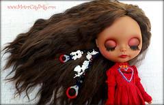 Mila (Motor City Dolly) Tags: custom ooak blythe doll latina mohair reroot pull strings charms milagros eyelid art