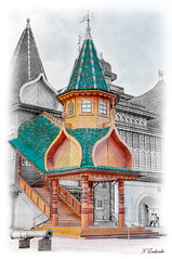 Palace of Tsar Alexei Mikhailovich (Moscow, Russia) (KonstEv) Tags: postcard temple palace kolomenskoe moscow russia wooden paint sketch architecture building tsar