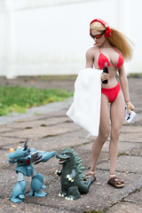 Bikini Beats (edwicks_toybox) Tags: 16scale tbleague bikini blonde femaleactionfigure femaleshooter godzilla gundam kaiju magiccube mech phicen seamlessbody sunglasses verycool vstoys