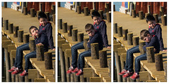 'Mood Swing' (Canadapt) Tags: boys brothers mood happy pouting pair docks triptych tróia portugal canadapt