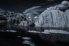 Boulders And Clouds At Watson Lake - Infrared (Bill Gracey 23 Million Views) Tags: watsonlake watsonlakestatepark granitedells prescott arizona infrared infraredphotography convertedinfraredcamera ir channelswapping granite boulders clouds composition highcontrast nature naturalbeauty naturephotography surreal reflections