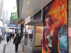 Captain Marvel Billboard Wall AD Times Square NYC 5842 (Brechtbug) Tags: captain marvel space avenger type billboard wall ad times square brie larson carol danvers vers intergalactic soldier shield comic book super hero movie poster theatre holiday ornaments film broadway 43rd street 7th avenue new york city 04122019 nyc advertisement pop popular art mural american star police blue sky march 2019 comics comicbook books comicbooks crime fighter