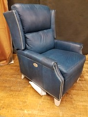Kenny Dual Power Recliner (Brian's Furniture) Tags: norwalk furniture market 2019 spring brians westlake ohio 44145 westside cleveland premarket high quality american made lifetime warranty springs frame cushion core unlimited choices options customizable rocky river bay village upholstered built order locally shop local usa dual power recliner kenny blue leather wing back style tapered leg