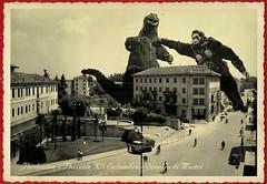 PORDENONE VINTAGE (Zellaby) Tags: pordenone vintage vintagepostcard kingkong photomontage godzilla monsters