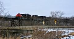 BLE / CN 5422 on Osgood Trestle. Osgood, PA (bobchesarek) Tags: cn cnrr icrr blerr ble oretrain trestle trains railroad railfan locomotive hoppers ironore osgood kremis
