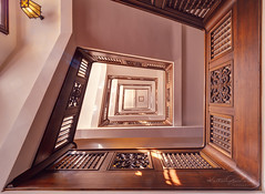 Up and down the stairs (Karsten Gieselmann) Tags: 1240mmf28 architektur braun em5markii exposurefusion farbe germany kontorhausstubbenhuk mzuiko microfourthirds olympus treppe architecture brown color kgiesel m43 mft staircase stairs hamburg deutschland