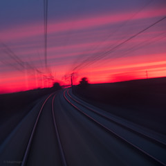 Good Morning (sdupimages) Tags: voieferrée eurostar perspective colourful levédesoleil train landscape railroad color sunrise sun light soleil aube carré square speed motion blur flou vitesse filé rouge red rougeoyant