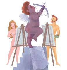 Life Class (Crickett-Grrrl) Tags: drawing illustration artschool cupid valentine cherub valentinesday pose painting art