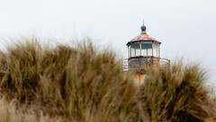 Where Light Once Shined From (John Westrock) Tags: coquilleriverlighthouse depthoffield bandon oregon pacificnorthwest lighthouse canoneos5dmarkiii canon135mmf2lusm grass beach overcast johnwestrock