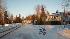2019 Bike 180: Day 44, March 5 (olmofin) Tags: 2019bike180 finland bicycle espoo polkupyörä snow subdivision street katu lumix 14mm f25