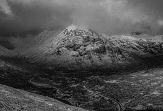 Beautiful Darkness (Mono) (GOR44Photographic@Gmail.com) Tags: mono bw scotland argyll gor44 hills highlands mountains cloud snow winter white glen coe a82 road panasonic g9 olympus 1240mmf28 monoscotland