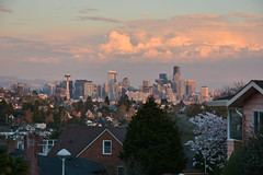 Magnolia Sunset Views 12 (C.M. Keiner) Tags: seattle washington usa city cityscape skyline mountains pacific northwest puget sound sunset magnolia hills clouds spring cherry blossoms
