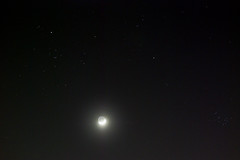 The Hyades, The Pleiades, the Moon, and Mars - 2019-04-08 (astrothad) Tags: moon stars nikon space astrophotography m45 astronomy dslr opencluster taurus cosmos earthlight pleiades astrophoto earthshine aldebaran waxingcrescent hyades starcluster sky