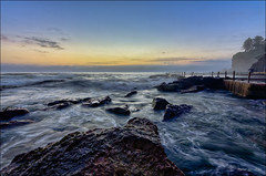Hold it right there (JustAddVignette) Tags: australia avalonbeach bluehour clouds cloudy early firstlight fog hightide landscapes mist newsouthwales northernbeaches ocean rockpool rocks seascape seawater sky swell sydney water waves