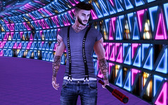 Out looking for trouble. (jc.underwood) Tags: backdropcity tattoo 3dlife 3dman bat tunnel colors secondlife slguy vr selfie legalinsanity