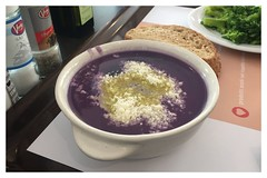 Zuppa di cavolo nero - Black cabbage soup (Moro972) Tags: bread pane cornice bianco white border iphone6 purple violet viola food cibo table tavolo deepplate plate piatto cabbage soup zuppa cavolo nero black