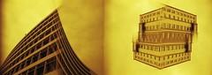 Shark Island. (von8itchfisk) Tags: ishootfilm film filmisnotdead 35mm tetenal c41 selfdeveloped doubleexposure multipleexposure analog analogphotography architecture redscale olympus om10 ipswich vonbitchfisk suffolk eastanglia axabuilding stfrancistower lomography