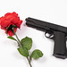 Rose and gun on white background