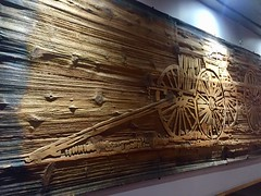 Canmore Alberta History (Mr. Happy Face - Peace :)) Tags: history art2019 architecture unknown spokes buckboard textures woodgrain planks art carvings