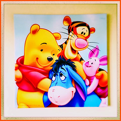 Winnie The Pooh Wall Art (Julie (thanks for 9 million views)) Tags: sliderssunday hipstamaticapp iphonese winniethepooh squareformat bright colourful art 100xthe2019edition 100x2019 image23100