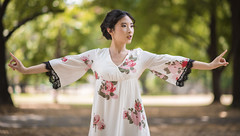 Step one (Kevin Casey Fleming) Tags: approved woman girl hands dance pretty flower dress outdoors chicago action d750 nikon day portrait face makeup people person photograph tree bokeh beautiful bright focus vivid nature young dancer