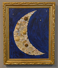 I Dreamed the Moon (BKHagar *Kim*) Tags: bkhagar moon art artwork paint painted canvas button buttons beads white gold blue night stars pearls craters mixedmedia
