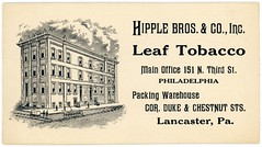 Hipple Bros. & Co., Inc., Leaf Tobacco, Philadelphia and Lancaster, Pa. (Alan Mays) Tags: ephemera businesscards advertisingcards cards advertising advertisements ads names paper printed hipple hipplebros hipplebrosco companies dealers packers packing tobacco leaftobacco leaf offices mainoffices packingwarehouses warehouses buildings streetcars illustrations thirdstreet 3rdstreet philadelphia dukestreet chestnutstreet lancaster pa lancastercounty pennsylvania antique old vintage typefaces type typography fonts landis dblandis davidbachmanlandis pluck pluckprint pluckartprint pluckprintery pluckartprintery landisartprint printers printeries printshops jobprinters