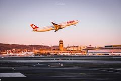 Sunset (Cirill Schnelli) Tags: sunset swiss flyswiss zrh zurich airport lszh switzerland airbus airbuslover a330