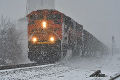 In the snow storm. (Machme92) Tags: bnsf burligrton emd sd70ace railroad railfanning railroads railfans rails rail row rr railroading railfan nikon nikond500 snow winter