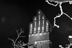 Hochzeitsturm, Darmstadt (Frau Koriander) Tags: architecture architektur fünffingerturm hochzeitsturm mathildenhöhe platanenhain platanen tree trees baum bäume jugendstil artnouveau darmstadt hesse hessen germany deutschland backstein brickstone nikond750 nikkor8020028 art turm building gebäude monochrome blackandwhite schwarzweis urban haus nightshot night longexposure langzeitbelichtung nachtaufnahme sterne sternenhimmel stars lichtkegel