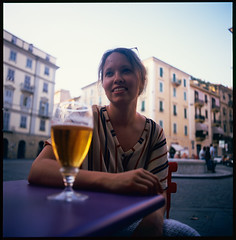 Beer at the Piazza Giuseppe Garibaldi (MikkoPylkko) Tags: hasselblad 500cm carl zeiss distagon 50mm fuji provia 100f rdp iii epson v700 betterscanning beer italy piazza giuseppe garibaldi la spezia
