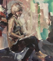 Seated lady (Captain Wakefield) Tags: acrylic oil paintingcontemporary art interior seated sitting woman lady burton figurativesamuel abstractexpressionist impressionist painting people sit