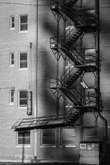 the last ten feet (fallsroad) Tags: tulsaoklahoma sigma135art blackandwhite bw monochrome city urban scene fragment goldenhour shadows sun downtown building architecture brick ladder stairs fireescape nikonsigma