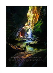 Beautiful canyon and waterfall in Blue Mountains Australia (sugarbellaleah) Tags: cave canyon waterfall sunlight rock geology nature landscape vertical australia adventure wilderness mossy green flowing fresh outdoors exploring fun extreme colour eroded weathered evolutio9n time creek stream rockycreek beautiful remote spectacular