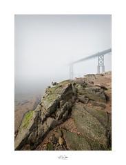A Rocky Approach (mikeyatswb) Tags: bristol rhodeisland unitedstates us fog bridge rocks shoreline mounthopebridge