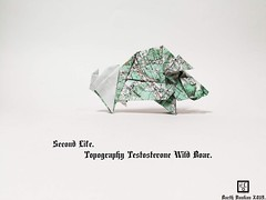 Second Life Topography Testosterone Wild Boar  - Barth Dunkan. (Magic Fingaz) Tags: barthdunkan ecorigami origami origamiwildboar paperart paperfolding sanglier wildboar wildschwein หมูป่า 야생멧돼지 イノシシ 野豬 pig origamipig