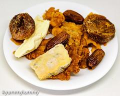 Blue cheese, brie, KFC skin, figs, and dates (garydlum) Tags: bluecheese brie cheese chicken chickenskin dates driedfruit figs kfc canberra australiancapitalterritory australia au