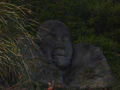 Dreaming (Steve Taylor (Photography)) Tags: sparks fairies imps fireflies art digitalart sculpture carving bust statue grey green orange yellow stone rock newzealand nz southisland canterbury christchurch grass bush bonsuter face sculpturepark southnewbrighton