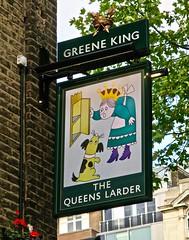 The Queens Larder, London, UK (Robby Virus) Tags: london england uk unitedkingdom britain greatbritain gb queens lrder greene king pub tavern bar boozer sign signage pints beer ale alcohol