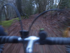 Riding Hogtrough Lane (cycle.nut66) Tags: olympus epl1 evolt micro four thirds mzuiko bike cycle cycling ride riding taken while moving movement hogtrough lane chiltern escarpment chilterns hiils winter woodlsnd trees blur drop bars lights mafac levers