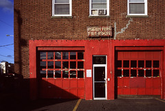 Asbury Park Fire Hdqts (Dalliance with Light (Andy Farmer)) Tags: ektachromee100 firehouse nj voightlander35mmf25colorskopar leicam6 film asburypark newjersey unitedstatesofamerica us texture red