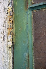 Come Back Later ... (sswj) Tags: weathered hinge oldbuilding tiburonnavalnetdepot marincounty northerncalifornia dslr fullframe availablelight architecturaldetail composition naturellight existinglight nikon d600 nikkor28300mm scottjohnson abstraction abstractreality doorframe green wornpaint wwiihistoricbuilding