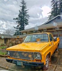 Custom 67 (creepingvinesimages) Tags: htt pickup truck yellow chevy c10 sky clouds kingcity oregon outdoors samsung galaxy s9 pse14 topaz
