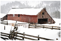 Old Barn on the Lake (jesmo5) Tags: colorado landscape vallecito antique barn christmas cold country fence hills ice mountains old pinetrees postcard rural rustic snow trees vintage winter wintersnow wood woods