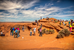 Weekday crowd at Horseshoe Bend (donnieking1811) Tags: arizona page horseshoebend people tourists crowd rocks cliff canyon shrubs landscape outdoors sky clouds blue tonemapped canon 60d lightroom photomatixpro