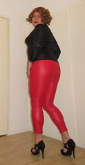 red leather leggings and black cougar printed top (Barb78ara) Tags: redleggings redleather leather leatherleggings leatherlook cougarprint blacktop blackcougarprint blackcougartop blackheels stilettoheels sandals blacksandals black sandal heels redhead