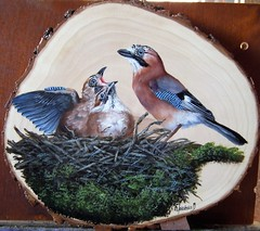 sójki (Garrulus glandarius) (koty333) Tags: garrulus glandarius jay oil painting wood slice