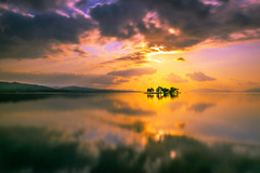 sunset 3011 (junjiaoyama) Tags: japan sunset sky light cloud weather landscape orange yellow color lake island water nature winter reflection calm dusk serene